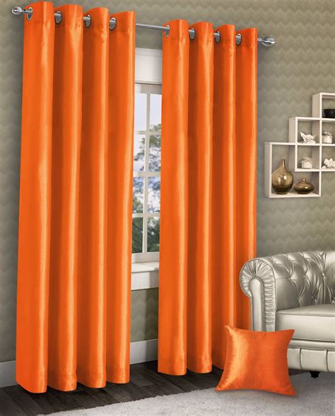 orange silk drapes stylish ring top eyelet lined curtains plain faux silk