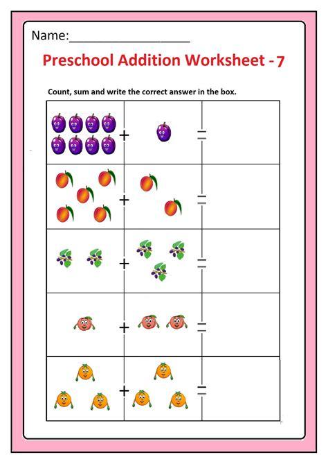 preschool basic addition worksheets  printable