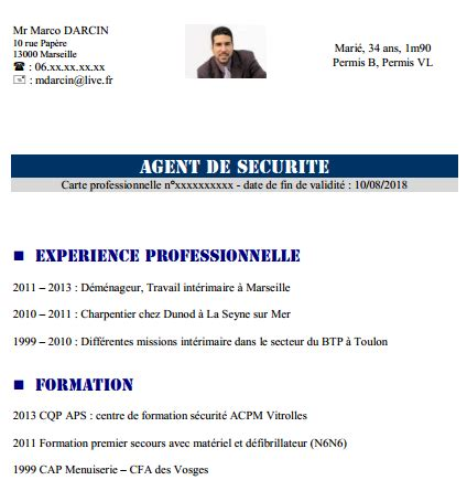 Cv Exemplaires by Cv En Ligne De Securite