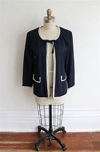 Vintage 90s Navy Dress Jacket With White From Vauxvintage On Etsy