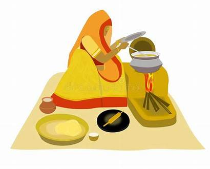 Cooking Indian Lady Villlage Dame Indische Het