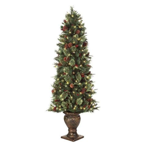 6 5 ft pre lit potted artificial tree with