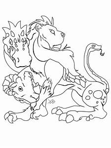 Drawing of a Chimera - a monster from Greek mythology ...