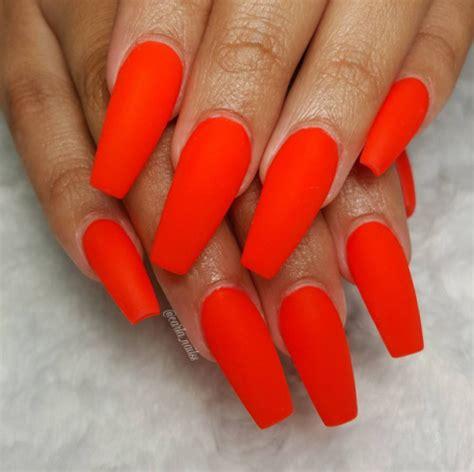 neon orange nails tumblr