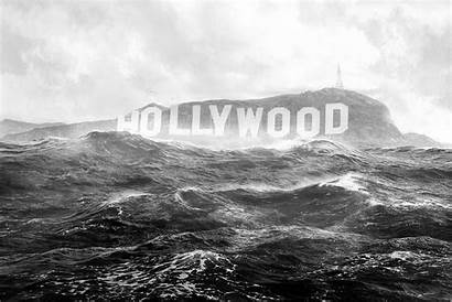 Hollywood Monochrome Wallpapers Flood Sign Axcy Water