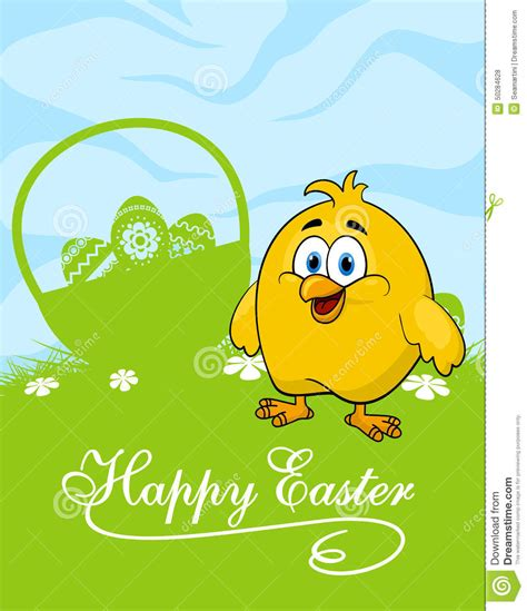 easter card  decorated eggs  cute chicken stock