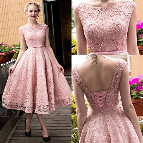 dusty pink vintage lace tea length short prom dresses