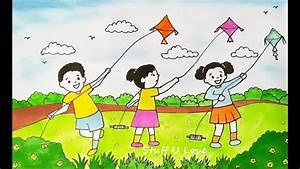 Makar Sankranti Festival easy kids flying kites scenary ...