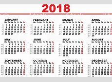 Grid Calendar For 2018 Arte vectorial de stock y más