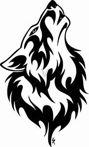 Tribal Wolf Clipart Black And White - ClipartXtras