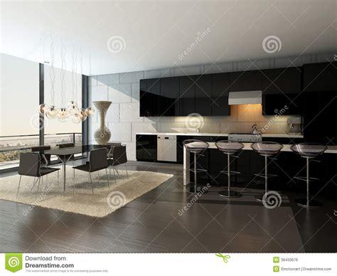 table de cuisine avec tabouret intérieur noir de cuisine avec les tabourets de bar et la