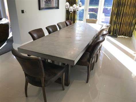 metre extendable polished concrete dining table