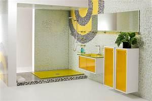meuble salle de bain jaune With meuble salle de bain personnalisé