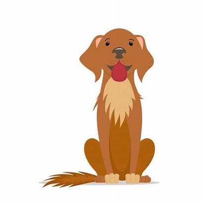 Dog Cartoon Sitting Brown Illustration Straight Vector