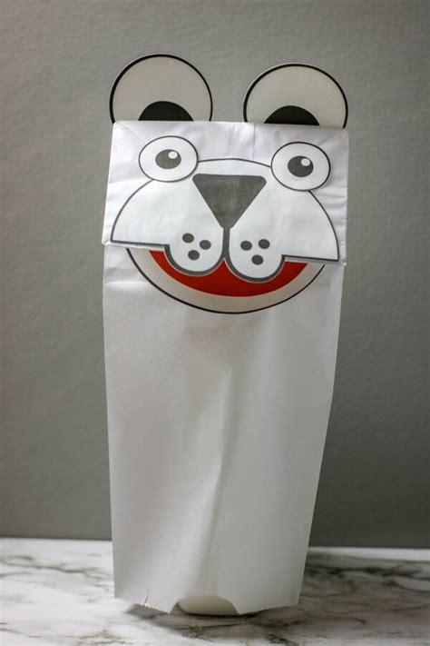 polar bear puppets  bins   hands
