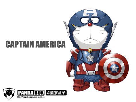 dorathe avengers captain america doraemon