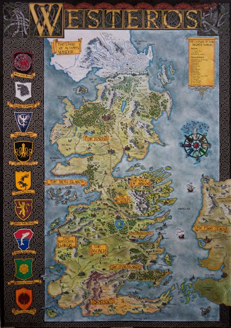 hand drawn westeros map complete  finished map