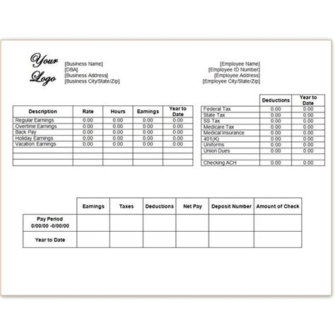 pay stub template excel a free pay stub template for microsoft word or excel