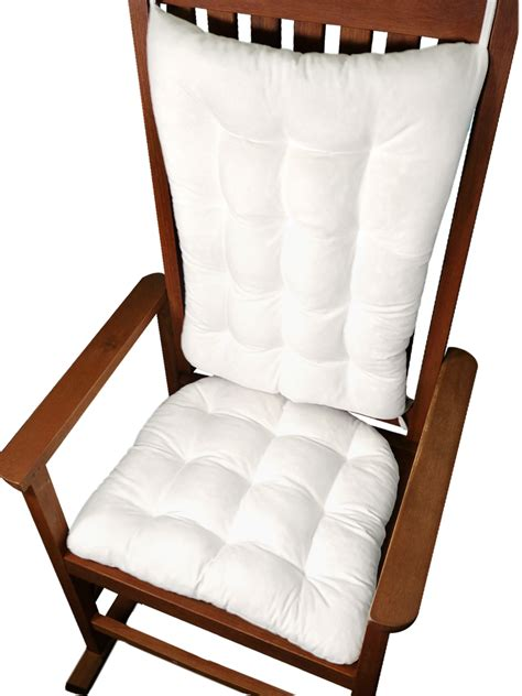 cotton duck white rocking chair cushion set fill