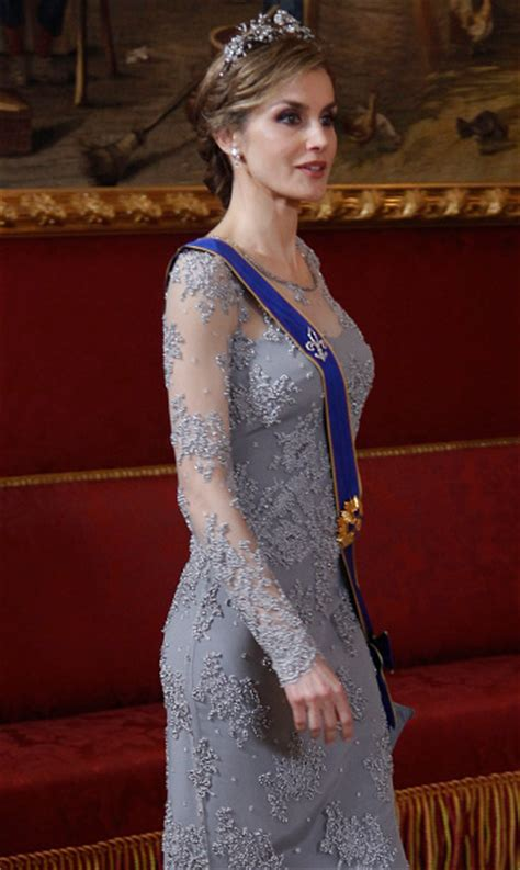 Queen Letizia Recycles Dazzling Gown Tiara For Palace Gala