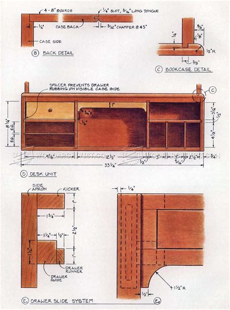 drop front desk plans woodarchivist