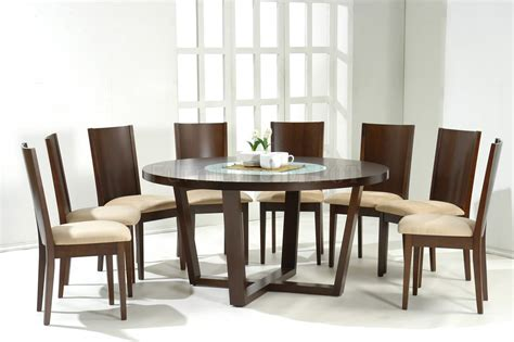 Round Dining Tables For 8 Dark Walnut Modern Round