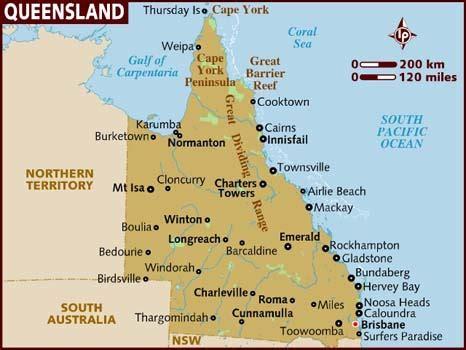 queensland regional map pictures map  australia region