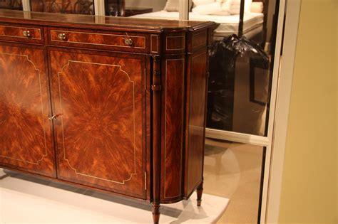 narrow mahogany regency buffet  console table  brass