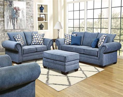 Blue Grey Sofa by Even Though The Color Is Cool Blue Furniture Is A