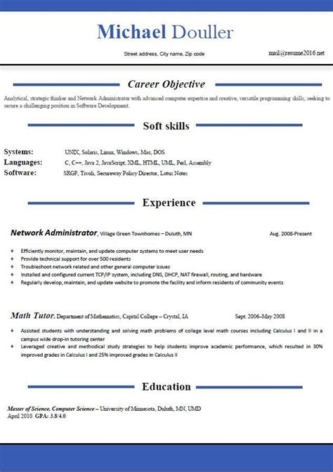 resume format exles for students sles of resumes
