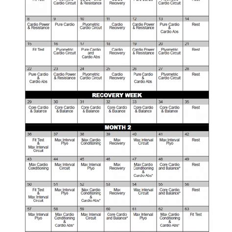 insanity workout schedule   calendar