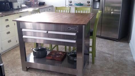 tool box island  butcher block top kitchen island