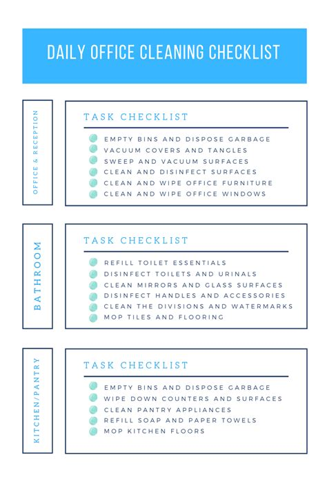 office cleaning checklist daily weekly  monthly tasks