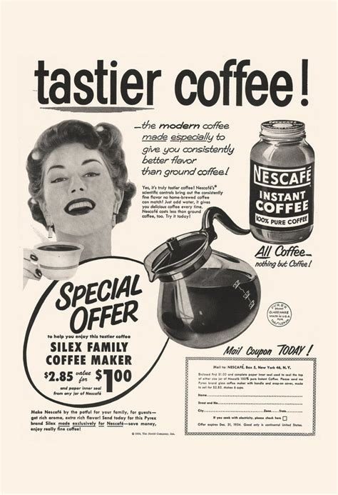 These unique advertisement posters are generally whimsical images that attempt to convey a sense of warmth, relaxation, and luxury. VINTAGE COFFEE AD - Retro Mid-Century Ad - Vintage Kitchen Poster, 50's Nescafe Ad, Retro Kitsch ...