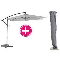 parasol d 233 port 233 guadeloupe 3m gris perle avec housse oogarden
