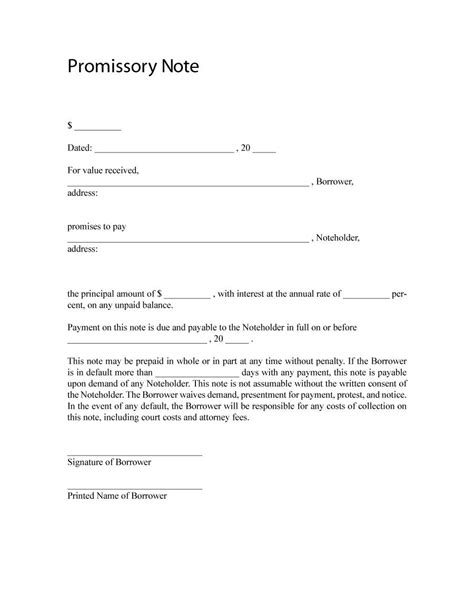 promissory note templates forms word