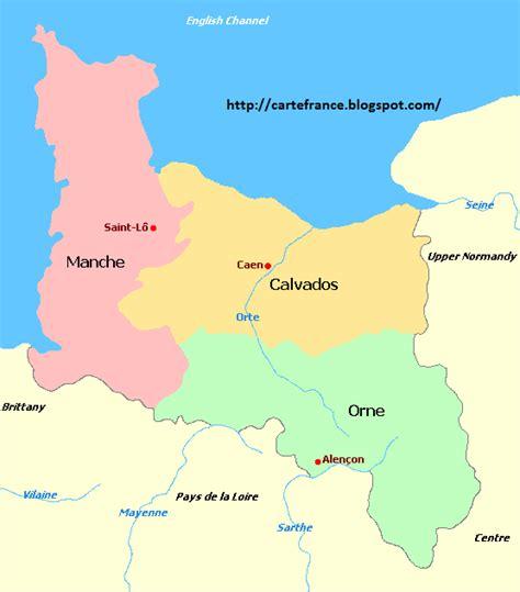 Carte Region Normandie by Carte Basse Normandie Departement Carte