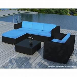 Salon de jardin Noire coussin Turquoise SD8201 Achat