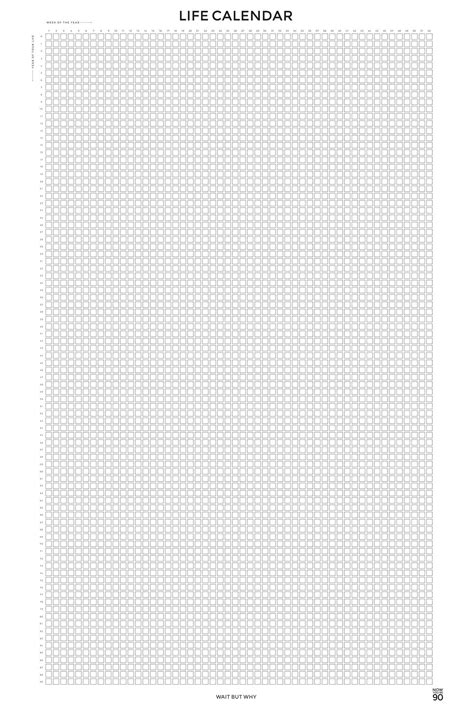 Life Calendar (24in x 36in) - Wait But Why Store