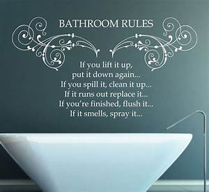 Bathroom rules quote vinyl wall art sticker decal mural for Nice white wall decal quotes