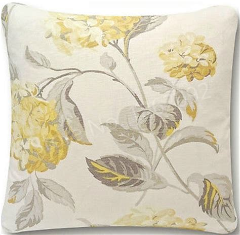 shabby chic fabric yellow new shabby chic hydrangea camomile yellow grey floral fabric cushion cover 18 quot linen decorative