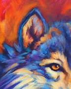 Wildlife Art of the West  Expressive Vibrantly Colorful Wolf Painting      Colorful Wolf Painting