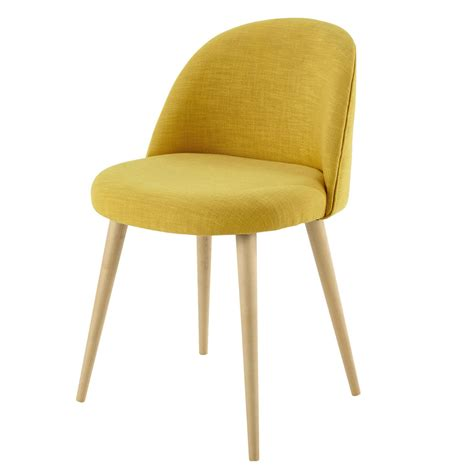 tissu chaise chaise vintage en tissu et bouleau massif jaune mauricette