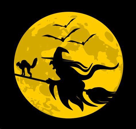 flying witch moon holidayhalloweenwitchwitches