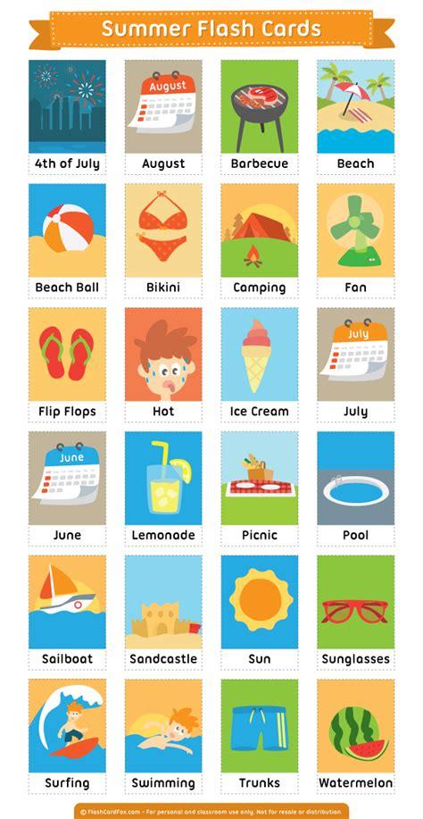 Printable Summer Flash Cards