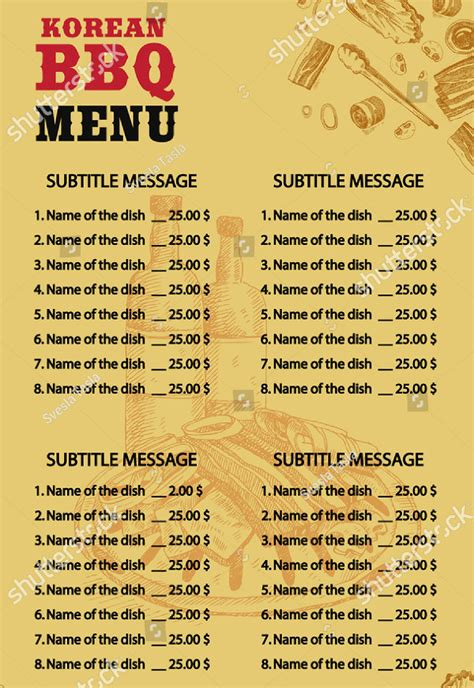 printable bbq menu templates  premium