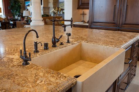 Stone Farmhouse Island Sink   Mediterranean   Kitchen
