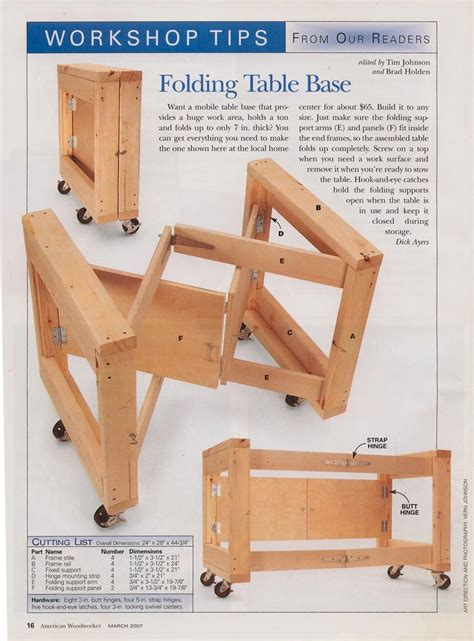 folding work table american woodworker published