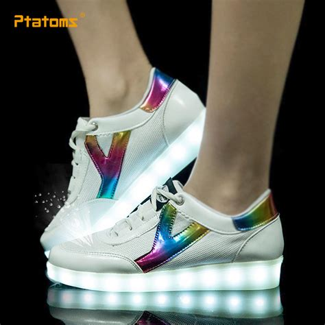 mens light up shoes fashion led sneakers breathable usb mens light up