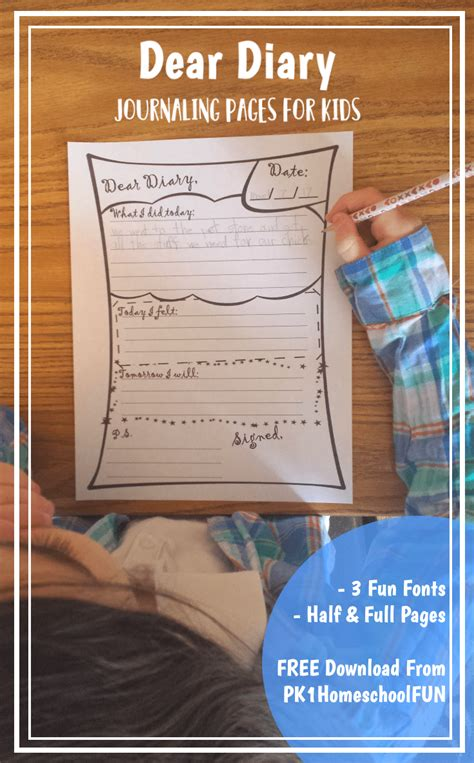 daily diary journal pages  kids  homeschool deals